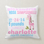 Pink Giraffe with Pink Zig Zag Birth Announcement Pillows