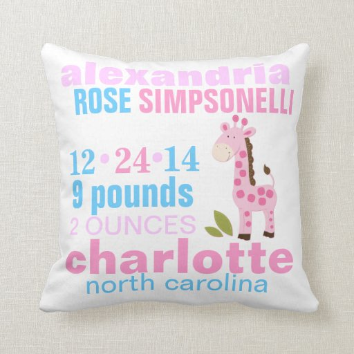 Pink Giraffe with Pink Zig Zag Birth Announcement Throw Pillow