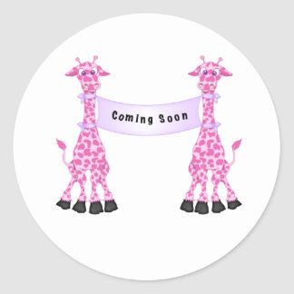Pink Giraffes Coming Soon Classic Round Sticker