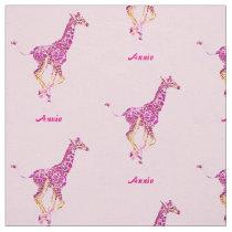 pink giraffes personalizable fabric