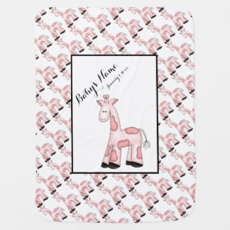 Pink Giraffes Personalized Baby Blanket