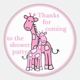 Pink Giraffes shower party round sticker