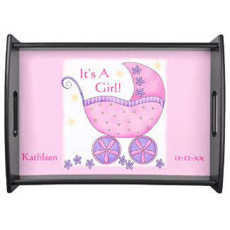 Pink Girl Baby Buggy Carriage with Name Birthdate Serving Tray