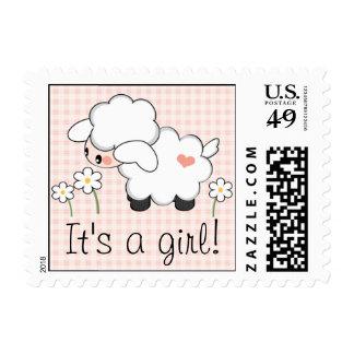 Pink Girl Baby Lamb Postage Stamp
