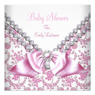 Pink Girl Baby Shower Diamonds Bow Image Invitation