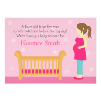 Pink Girl Baby Shower, For Mother to Be 4.5x6.25 Paper Invitation Card