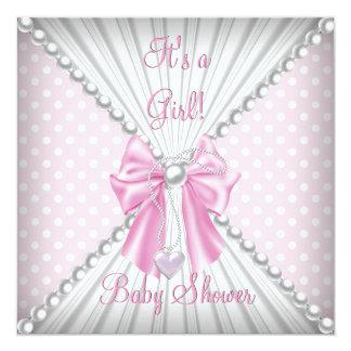 Pink Girl Baby Shower Pearl Polka Dots Card