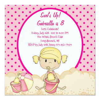 Pink Girl Beach Party Birthday Invitation