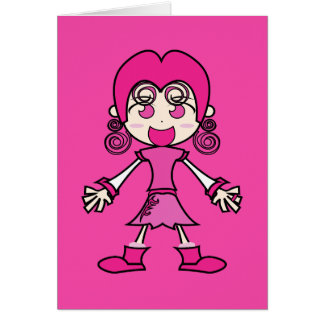 Pink Girl Cartoon Art Card