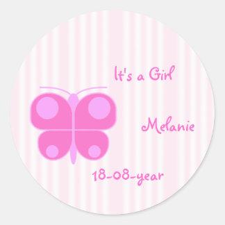 pink girl classic round sticker