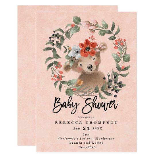 pink girl cute bear boho modern baby shower invitation