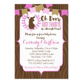 Pink Girl Deer Doe Baby Shower Invitation