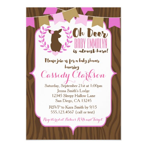 Pink Girl Deer Doe Baby Shower Invitation