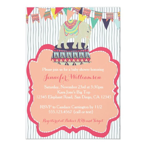 Pink Girl Elephant Circus Baby Shower Invitation