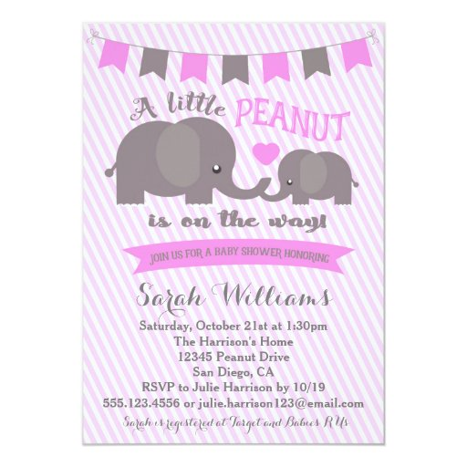 Pink Girl Elephant Peanut Baby Shower invitation