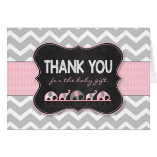 Pink Girl Elephants baby shower thank you notes
