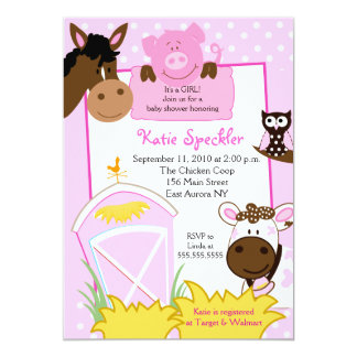 Pink Girl Farm Babies Baby Shower Invitation