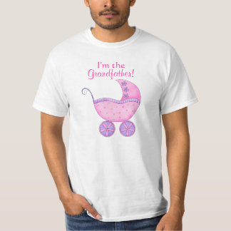 """Pink Girl Grand Baby Buggy """"I'm the Grandfather"""" T-shirt"""