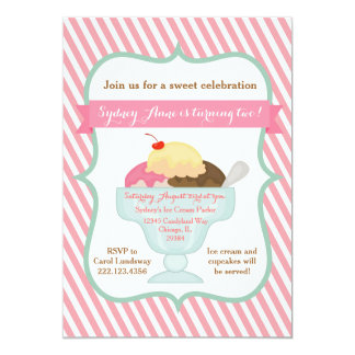 Pink Girl Ice Cream Party Invitation