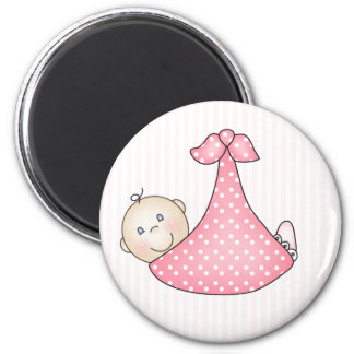 Pink Girl in Blanket 2 Inch Round Magnet