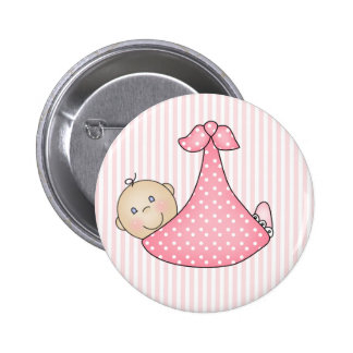 Pink Girl in Blanket Button