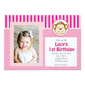 Pink Girl Monkey Birthday Invitation