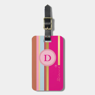 pink girl monogram travel personalized bag tag