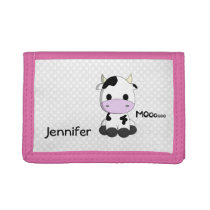 Pink girl name wallet with sweet cow