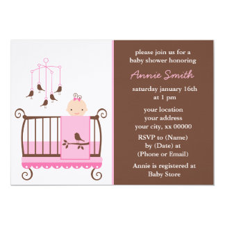 Pink Girl Nursery Baby Shower 5x7 Paper Invitation Card