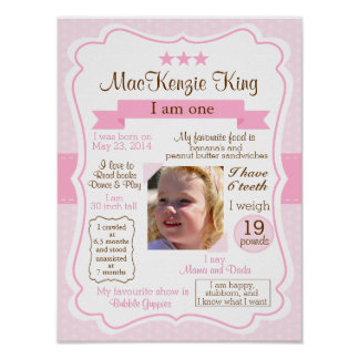 Pink Girl one year sign for your birthday girl Poster