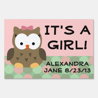 Pink Girl Owl, It's a Girl Baby Yard Sign