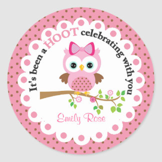 Pink Girl Owl Party Thank You Classic Round Sticker