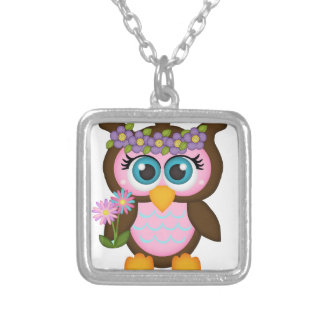 Pink Girl Owl Silver Plated Necklace