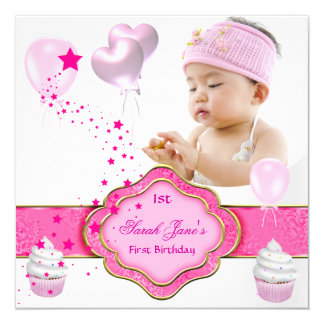 Pink Girl Photo First 1st Birthday Party 5.25x5.25 Square Paper Invitation Card