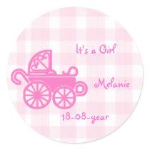 pink girl - pram sticker