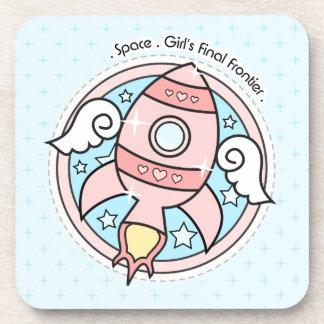 Pink Girl Rocketship Beverage Coaster