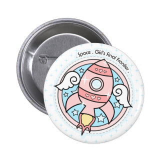 Pink Girl Rocketship Pinback Button