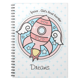 Pink Girl Rocketship Spiral Notebook
