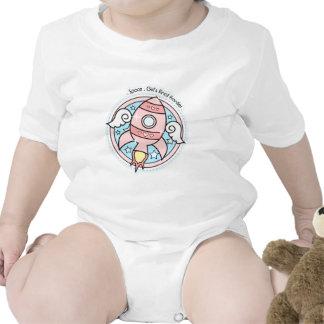 Pink Girl Rocketship Baby Bodysuits