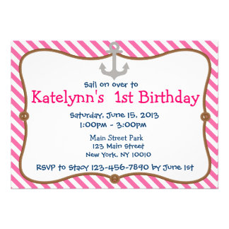 Pink Girl s Nautical Birthday Party Invitation