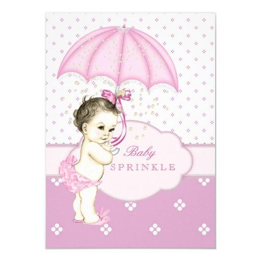 Pink Girl Sprinkle Baby Shower Custom Announcement