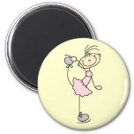 Pink Girl Stick Figure Ice Skater 2 Inch Round Magnet