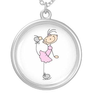 Pink Girl Stick Figure Ice Skater Custom Jewelry
