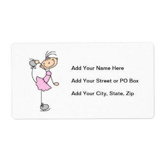 Pink Girl Stick Figure Ice Skater Label