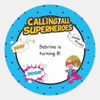 Pink Girl Superhero Comic Envelope Sticker Seal
