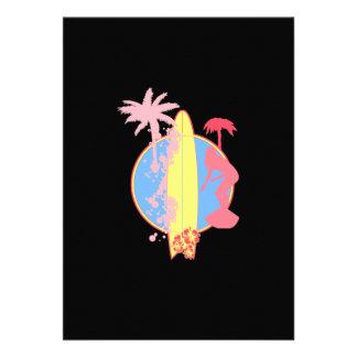 Pink Girl Surf logo Custom Invitations