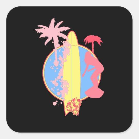 Pink Girl Surf logo Square Sticker