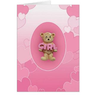 Pink Girl Teddy Bear Greeting Card