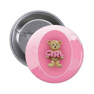 Pink Girl Teddy Bear Pinback Button