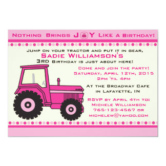 Pink Girl Tractor Birthday Party Invitation